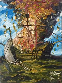 """Robert Lyn Nelson,Painted age14 """"Galleon Burning"""" #Childhood art of RLN  #oilpainting 9x12"""