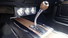 "1969 Dodge Coronet R/T 440, floor console with the ""Speed-Gate"" shifter and additional instrumentation."