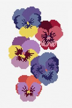 Free patterns for cross stitch, embroidery, knitting and crochet Counted Cross Stitch Patterns, Cross Stitch Charts, Cross Stitch Designs, Cross Stitch Embroidery, Embroidery Patterns, Cross Stitch Tattoo, Dmc, Cross Stitch Flowers, Pansies