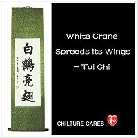 White Crane Spreads its Wings Chinese Calligraphy Scroll
