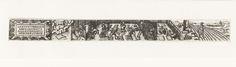 Anonymous | Maart, Anonymous, 1584 | Uit een serie van twaalf prenten, de verbeelding van de maand Maart. Rechts een boer aan het zaaien op zijn akker, in het midden mannen aan het werk in een siertuin, rechts het sterrenbeeld Ram en een cartouche met de tekst: Gaerten un reben baw ich im Mertz, Dach Erdlich auch herumer stertz.