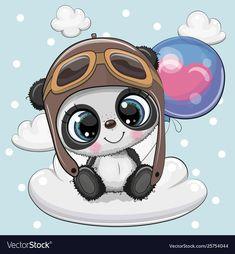 Grußkarte Cute Cartoon Panda in einem Stock-Vektorgrafi Cute Panda Drawing, Cute Panda Cartoon, Cute Cartoon Pictures, Cute Cartoon Animals, Cute Images, Baby Animals, Cute Animals, Panda Wallpapers, Cute Cartoon Wallpapers