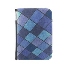Blue Checkered Pattern Kindle Folio Cases