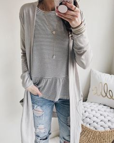 """1,055 Likes, 43 Comments - AnnaBlushing Rose Style (@anna_brstyle) on Instagram: """"Striped tees and long cardis for today's look . How cute ia that peplum number (under $40). And i…"""""""