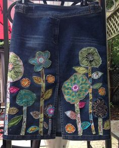 denim boho hippie jean skirt recycled patchwork embellished flowers: