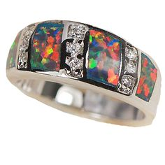 Sterling Silver Ring with Cr Opal Inlay and Cubic Zirconias from opal jewelry Express