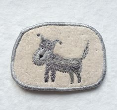 "Brooch - ""Salty"" - Funny Dogs - collection, hand embroidered pet brooch 