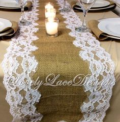 Burlap and LaceTable Runner/ White/Ivory Lace, 5ft-10ft x 12in Wide/ Wedding Decor/Tabletop Decor/Rustic Weddings/Etsy finds by LovelyLaceDesigns on Etsy
