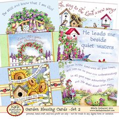 Blessing Cards - Garden Theme Set-2 Digital- perfect for tucking into a card, gift, or print all and bundle together