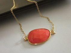 coral and gold pendant necklace in  my etsy shop www.celestelaurendesigns.etsy.com #coral #gold #necklace