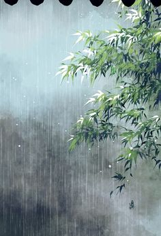 Rain Wallpapers, Scenery Wallpaper, Chinese Painting, Chinese Art, Watercolor Landscape, Landscape Paintings, Gif Bonito, Blur Photo Background, Rain Photography