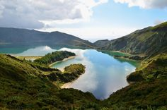 """Looking down at Lagoa do Fogo (""""Fire Lake"""") on the island of Sao Miguel, Azores"""