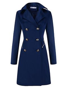 Women's Casual/Daily Sophisticated Coat,Solid Peaked Lapel Long Sleeve Winter Blue / Beige / Black Others Thick 5187722 2016 – $19.99