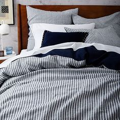 Striped Belgian Linen Duvet Cover + Shams - Midnight #westelm