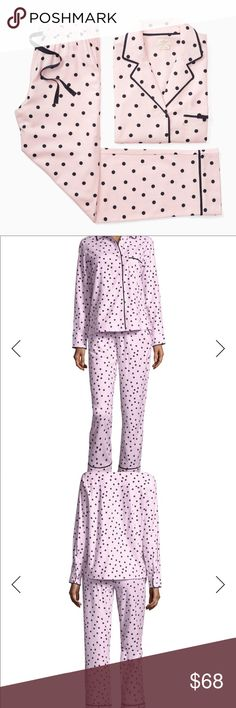 kate spade dream a little dream PJ Set Fun light pink with black dots print puts a playful spin on menswear-inspired PJs crafted from soft, cozy flannel. See pictures with tag info for style name. Size Small. NWT. Still in package. Would make great gift 🎁 kate spade Intimates & Sleepwear Pajamas