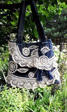Купить Бохо сумка МАНТИЛЬЯ - синий, орнамент, бохо сумка, сумка бохо, бохо