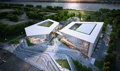 Busan Myungji Cultural Complex (부산명지 문화복합시설) : 행림종합건축사사무소 Auditorium Architecture, Hotel Design Architecture, Architecture Mapping, Library Architecture, Architecture Concept Drawings, School Architecture, Sustainable Architecture, Interesting Buildings, High Rise Building