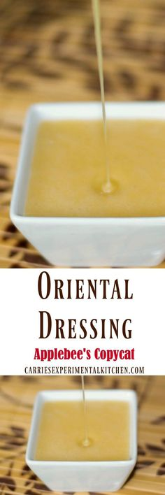 Make Applebee's Oriental Dressing in the comfort of your own home. It's perfect on salad or sandwiches and the family is going to love it! - white halter dress short, designer dresses, maxi evening dresses with sleeves *ad Copycat Recipes, Sauce Recipes, Cooking Recipes, Fondue Recipes, Cooking Tips, Chutneys, Homemade Dressing, Salad Dressing Recipes, Mets