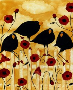 Hubbs Art Folk Prints Crow Blackbirds Birds Floral Flowers Poppy Poppies Garden Painting