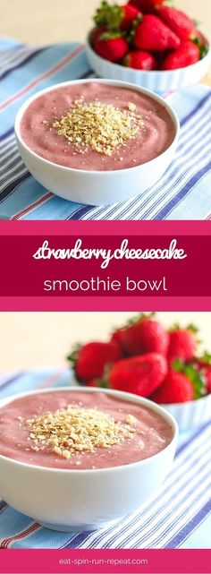 It's smoothie bowl o-clock! This Strawberry Cheesecake Smoothie Bowl is truly like cheesecake in smoothie form, plus tons of plant-based protein, minus all the crazy sugar. Vegan, gluten-free, and delicious!