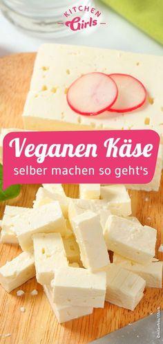 Rezept: veganen Käse selber machen so geht's Recipe: make vegan cheese yourself that's how it works Easy Vegetarian Dinner, Best Vegetarian Recipes, Raw Food Recipes, Vegan Recepies, Vegan Snacks, Healthy Snacks, Snacks Diy, Vegan Cheese, Going Vegan