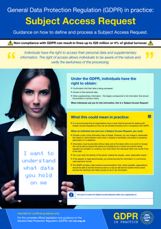 GDPR In Practice - Subject access requests? and office posters to increase staff awareness on GDPR as non-compliance can result in fines of up to million or of global turnover (whichever is higher). Data Protection Officer, General Data Protection Regulation, Gdpr Compliance, Time Management, Project Management, Cloud Data, A3, Leadership, Knowledge