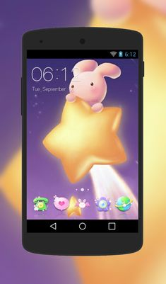 Free android theme elegance httpandroidlooksthemet1217 enjoy the cheerfulness of this lovable bunny theme as it rides the golden star the cuteness doesnt end there though as special custom icons with bunny altavistaventures Gallery