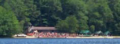 Swim carnival at Yawgoog's Camp Three Point Waterfront, as viewed from the former Campsite Paul Siple.  A 2013 image by David R. Brierley.  Facebook cover photo.