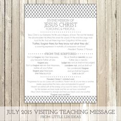 July 2015 Visiting Teaching Printable from Little LDS Ideas
