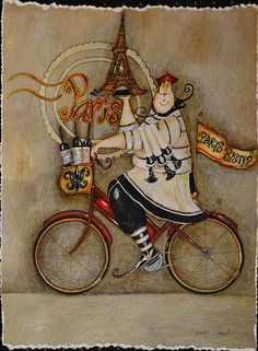 French Art Network | Garant, Jennifer - PARIS CHEF I - 30 x 22 inches - watercolor on paper painting.
