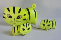Vintage Fluorescent Yellow Ceramic.Tiger Cat by Cosasraras on Etsy, $25.00