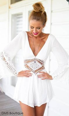 Summer Overalls Ladies V Neck Chiffon Jumpsuit Long Sleeve bodysuit Women Romper lace Loose playsuit combinaison femme White Lace Jumpsuit, Lace Romper, Long Sleeve Romper, Elegant Jumpsuit, White Romper, Lace Dress, Tailored Jumpsuit, Boho Romper, Lace Chiffon