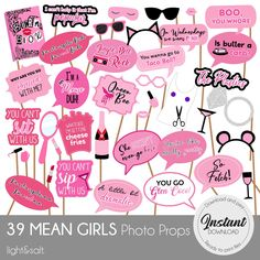 Slumber Party Games, Bachelorette Party Themes, Birthday Party Themes, Mean Girls Party, Mean Girl Quotes, Girls Party Decorations, Happy 21st Birthday, Girl Sign, Girl Themes