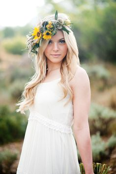 desert sunflower inspired flower crown halo utah wedding florist calie rose kristina curtis photography utah wedding photography www.calierose.com