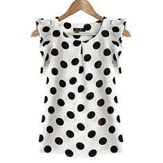 Cotton Blouses New 2017 Summer Women Kawaii Polka Dot Printing Short Sleeve Shirt Tops Plus Size Blusas Shirts Haut Femme Blouse Summer Blouses, Summer Tops, Casual Summer, Women's Casual, Summer Vest, White Casual, Casual Party, Summer Shirts, Casual Wear