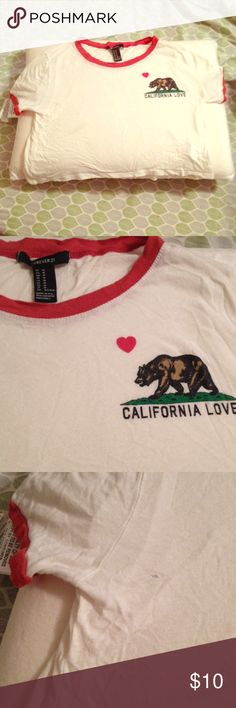 Cali Crop Top Cute California Love crop top with red piping! In good condition except for tiny holes shown in pic 3 & 4.  Barely noticeable though.  Tagged Brandy only as exposure.  The real brand is Forever 21.  Can also fit a small. Brandy Melville Tops Crop Tops