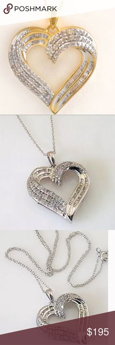 """.50 Ct Natural Diamond 14K Y Gold Necklace 14K Yellow Gold Over Sterling Silver .50 Cttw Genuine White Diamond Open Heart Pendant Necklace 18"""" Color I-J Clarity I2 Jewelry Necklaces"""
