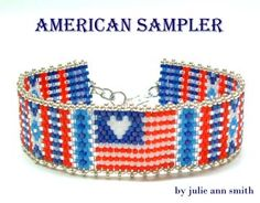 Julie Ann Smith Designs AMERICAN SAMPLER Bracelet Pattern, Sova Enterprises