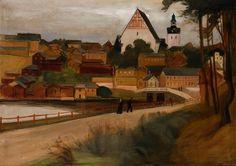 The Athenaeum - View From Porvoo (Magnus Enckell - ) Stockholm, National Gallery, Landscape Paintings, Landscapes, Art Nouveau, Colours, Watercolor, Fine Art, City