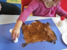 hot chocolate and marshmallow painting