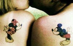 Minnie and Micky Mouse Kiss Couple Tattoos <3