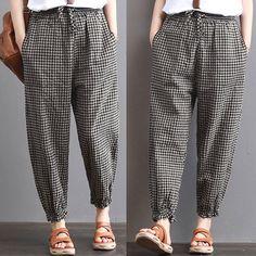 Women Vintage Ethnic Oversize Harem Pants Casual Pants Plaid Check Trousers Plus - Women Bottoms Outfits Casual, Casual Pants, Formal Pants, Summer Outfits, Plus Size Harem Pants, Salwar Pants, Checked Trousers, Plaid Pants, Blue Pants