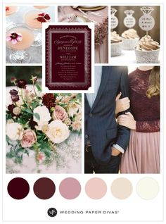 Burgundy is today's inspiration for a romantic, engagement party theme. When you pair it with creamy mauve and dusty rose decor, you'll have yourself one gorgeous party scene. Easily add vintage details, like lacy baking cups for the cupcakes, ornate martini glasses for cocktails and textured dining table embellishments.