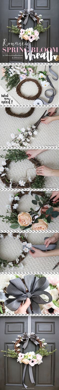 DIY Spring Wreath.  Follow the step-by-step tutorial by Oh Everything Handmade for a romantic DIY Spring Bloom Wreath.  Afloral.com has everything you need for your DIY wreath.