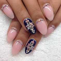 Pink&navy almond nails, rhinestone reverse french nail