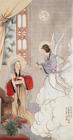 Angel and Madonna ~ Chinese Orthodox icon of the Annunciation - amazing! Such a lovely in corporation of religion and tradition Religious Images, Religious Icons, Religious Art, Christian Paintings, Christian Art, Blessed Mother Mary, Blessed Virgin Mary, La Madone, Images Of Mary