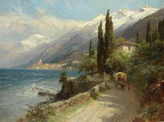 """Malcesine on Lake Garda Monte Baldo"" (1913) By Edward Theodore Compton (E. T. Compton), English-born German Artist and Illustrator (1849 - 1921) - oil on canvas; 77.2 × 100.5 cm; 30.4 × 39.6 in - Private Collection"