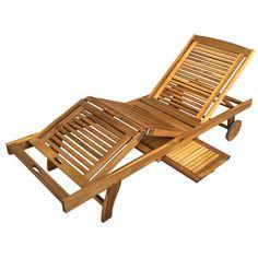 Buy Luxo Grenada Acacia Timber Outdoor Sunbed - Green Cushion Online Australia