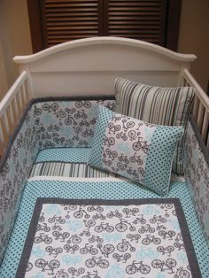 Boys and Bikes 3 Piece Crib Set by sweetdreamdesigns on Etsy, $395.00