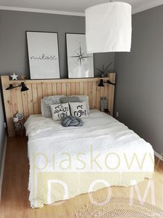drewniany zagłówek, drewniane łóżko, styl skandynawski, scandi, szara sypialnia, Sweet Home, Interior Design, Bedroom, Furniture, Home Decor, Wood Headboard, Bed Headboards, Beds, Living Room